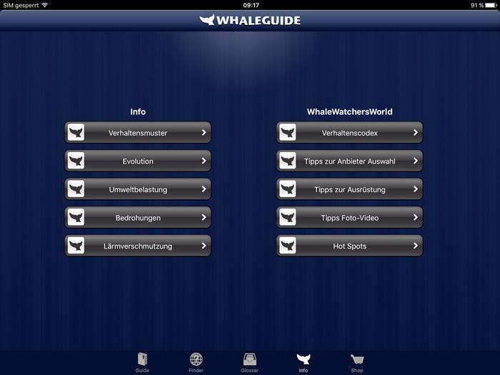 Screenshot Whaleguide App